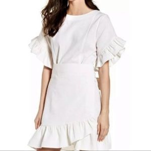 Socialite linen blend ruffle wrap dress S